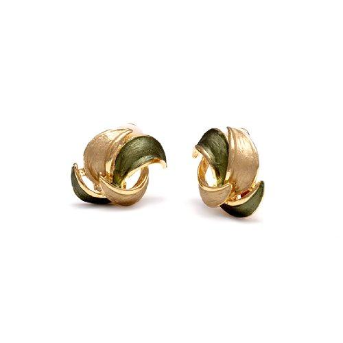 Rodney Holman Green Enamel and Gold Plated Petal Clip On Earrings