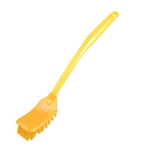 Yellow Plastic Handle Bathroom Toilet Bowl Scrub Brush Tool