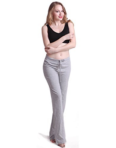 HDE Womens Stretchy Loose Yoga Gym Sports Athletic Drawstring Lounge Pants (Light Gray, Medium) (Wide Leg Pajama Pants compare prices)