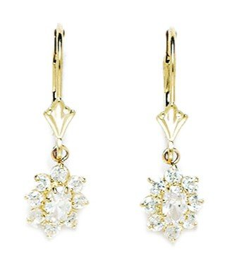 14ct Yellow Gold April Birthstone Clear 4x5mm CZ Flower Leverback Earrings - Measures 27x8mm