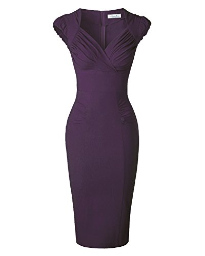Newdow Lady's 50s Vintage V-neck Capsleeve Pencil Dress (X-Large, Carmine)