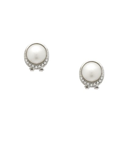 Dignified White Pearl and Crystal Clip On Earrings - Perfect Wedding Day Jewelry