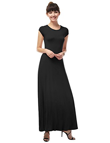 LA BASIC Women's Round Neck Cap Sleeve Stretchy Casual One Piece Maxi Dress BLACK 1XL