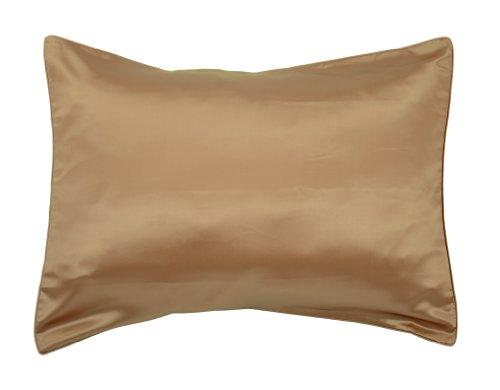Empress Silk 100-Percent Mulberry Silk Contemporary Pillow Cover, Standard, Bronze front-1037545