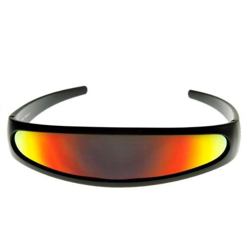 [zeroUV - Futuristic Narrow Cyclops Color Mirrored Lens Visor Sunglasses (Black Fire) LensWidth: 142 mm Color: Black Fire, Model: 8964, Outdoor & Hardware] (Cyclops Visor Costumes)