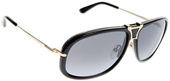 Tom Ford 01B Shiny Black and Brown Robbie Aviator Sunglasses Lens Category 2