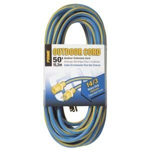 50 Ft 14/3 Blue & Yellow Outdoor Extension Cord