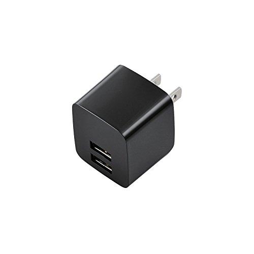 ELECOM スマートフォン タブレット用AC充電器 iPhone6s/6s Plus対応 2.4A出力 USB2ポート ブラック  MPA-ACUEN000BK