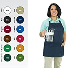 "San Jamar 602BAFH Poly Cotton ""Front of the House"" Professional Bib Apron with 3 Compartment Front Pocket, 25"" Length x 28"" Width, Navy Blue"