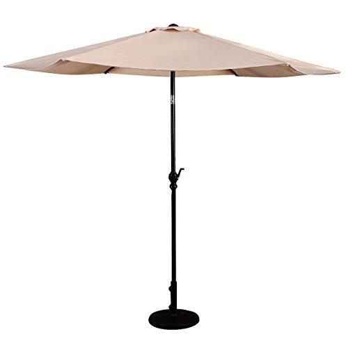 GOPLUS 9FT Patio Umbrella Patio Market Steel Tilt W/ Crank Outdoor Yard Garden Color:Beige