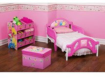 Disney Princess Room in a Box ( Bed, Soft Toy Box , 6 Bin Toy Storage Organizer, 7 Small Wall Stickers)