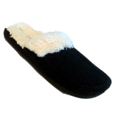 Image of Womens Dearfoams Black Boiled Wool Clogs Slide on Fur Lined Slippers Medium 7-8 (B005KKNGPG)