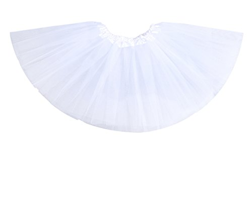 "Anleolife 12"" Ruffles Skirt Tutu For Kids Assorted Colorful Tutu Dress White"