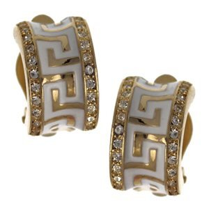 Shia White/Gold Clip On Earrings