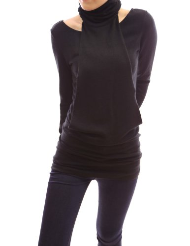 PattyBoutik Long Sleeves Ruched Turtleneck Tunic Top