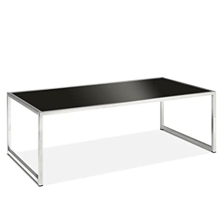 AVE SIX Yield Modern Black Glass Top Coffee Table with Chromed Steel Base by Avenue Six