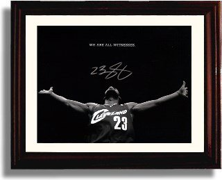 "Framed LeBron James ""We Are All Witnesses"" Cleveland Cavs Autograph Print"
