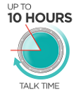 Up to 10 hours of wideband talk time
