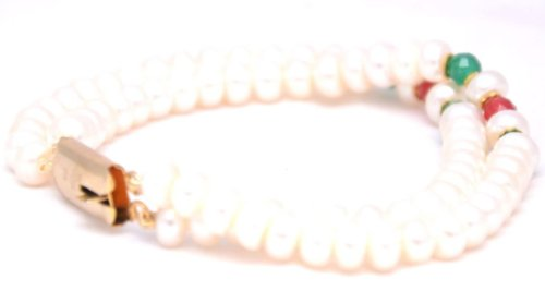 Amarsons Pearls Traditional Wear Pearl Bracelet for Women AMSP114 (white)
