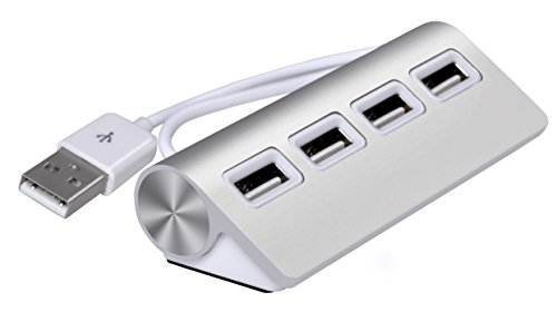 Cateck - Hub 4 porte USB 2.0 in alluminio premium con cavo schermato da 28 cm per iMac, MacBook Air, MacBook Pro, MacBook, Mac Mini, PC e laptop.