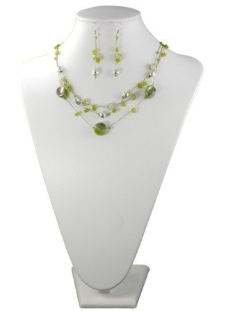 Three Row Green and Silver Tone Bead Necklace and Matching Earrings Set