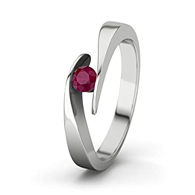 21DIAMONDS Women's Ring Summertime Ruby Brilliant Cut 9Ct White Gold Engagement Ring