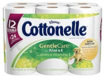 Cottonelle Gentle Care Toilet Paper with aloe and vitamin E is extra soft on sensitive skin.