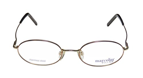 [Marcolin Village 73 Mens/Womens Oval Full-rim Eyeglasses/Eyeglass Frame (49-18-135, Gold / Havana)] (Android 17 And 18 Costumes)