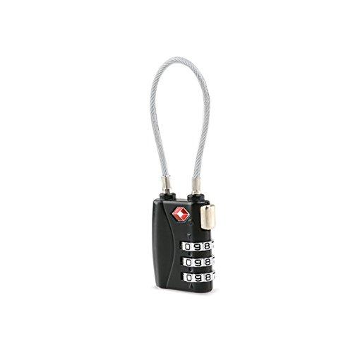 Tinksky Approvato TSA Serrature Serrature bagagli cavo di sicurezza a 3 cifre combinazione lucchetti Password serrature lucchetti (nero)
