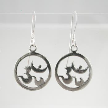 Sterling Silver Round Om (Aum) Earrings Open Design Dangle