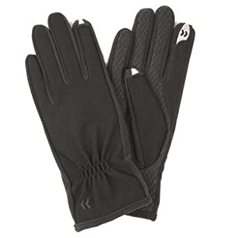Isotoner Womens Stretch Glove Black Extra Large Partial Back Gather Fleece Lined - Isotoner 83921-BLK-XL