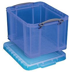 Really Useful Boxes(R) Plastic Storage Box, 32 Liters, 12In.H X 14In.W X 19In.D, Blue