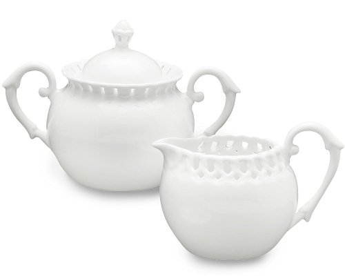 Gracie China, Heirloom Collection, 2-Piece Sugar and Creamer Set, White Fine Pierced Porcelain (Creamer Coffee Pot compare prices)