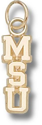 Michigan State Spartans Vertical MSU Polished Charm - 14KT Gold Jewelry by Logo Art