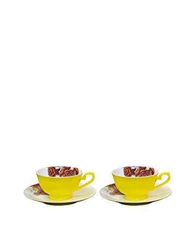 Auratic 4-Piece Tea Set, Yellow/Rose