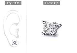 Fine Jewelry Vault SCMER14WHSQ100D Mens 14K White Gold - Princess Cut Diamond Stud Earring - 1.00 CT. TW.