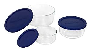Pyrex 6010170 Storage 6-Piece Round Set, Clear with Blue Lids