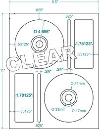 Compulabel Clear Gloss CD/DVD Memorex Labels for Inkjet Printers, 4.625-Inch Permanent Adhesive, 2 Per Sheet, 100 Sheets per Carton