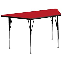 30\'\'W x 60\'\'L Trapezoid Activity Table with 1.25\'\' Thick High Pressure Red Laminate Top and Standard Height Adjustable Legs XU-A3060-TRAP-RED-H-A-GG