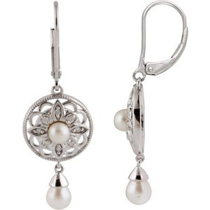 Genuine IceCarats Designer Jewelry Gift Sterling Silver Freshwater Cultured Pearl And Diamond Fashion Lever Back Earrings. Freshwater Cultured Pearl And Diamond Fashion Lever Back Earrings In Sterling Silver