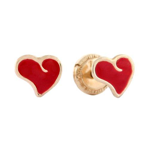 14k Yellow Gold Red Heart Enamel Baby Earrings