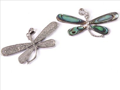 27x57mm white gold plated Dragonfly natural Abalone shell beads Pendant 1 Pcs
