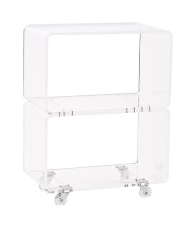 Foxhill Trading Pure Décor Acrylic Stacked Accent Table, Clear As You See