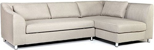 FabHomeDecor Mia Five Seater L-Shaped Sofa (Cream)