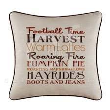 "16"" Embroidery Pillow, Football Time, Harvest"