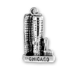 Sterling Silver 3D Chicago Marina City Vacation Travel Tour Charm
