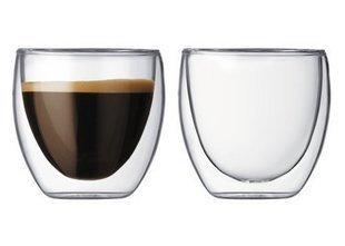 Double Walled Glass Espresso / Macchiato Coffee Cup 3oz (2 x Cups)