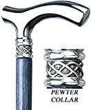 Blue Slim Line Chrome Plated Fritz Walking Cane With Blue Ash Shaft and Pewter Swirl Collar