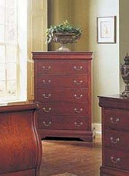 Louis Phillipe Style Cherry Finish Wood Bedroom Storage Chest