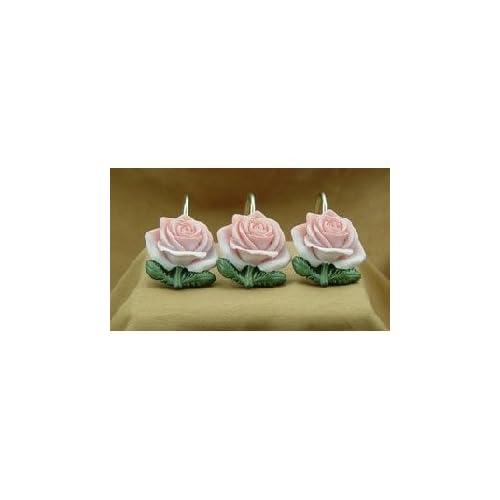 Pink Rose Shower Curtain Hooks Set Of 12